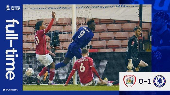 Hasil Piala FA Barnsley vs Chelsea, Tammy Abraham Cetak Gol, Chelsea Menang Susah Payah