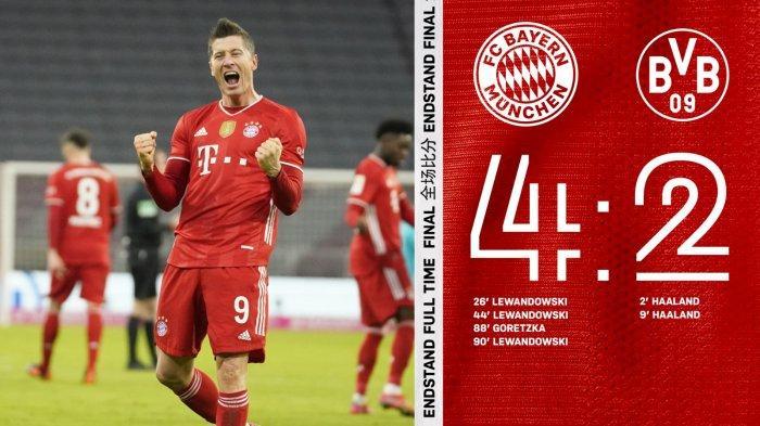 Hasil Bayern Munchen vs Borussia Dortmund, Haaland 2 Gol Lewandowski Hattrick, Bayern Munchen Menang