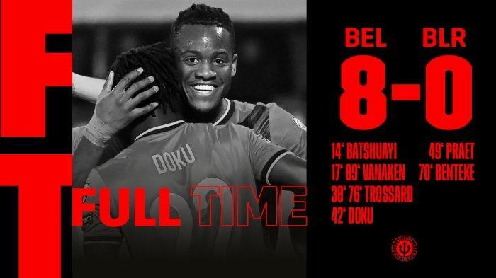 Hasil Belgia vs Belarus, Hans Vanaken & Leandro Trossard Sumbang 4 Gol, Belgia Menang 8-0