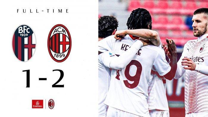 Hasil Liga Italia Bologna vs AC Milan - AC Milan menang tipi 2-1 atas Bologna di pekan 20 Liga Italia 2020/2021.