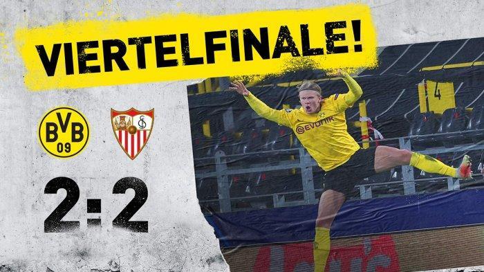 Hasil Borussia Dortmund vs Sevilla, Erling Haaland 2 Gol, Laga Imbang, Dortmund ke Perempat Final