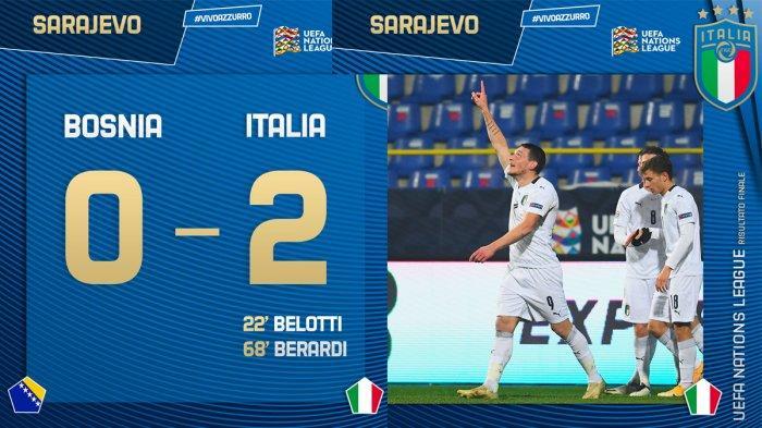 Hasil Bosnia vs Italia, Andrea Belotti&Berardi Cetak Gol, Italia Menang, Azzurri ke Final Four