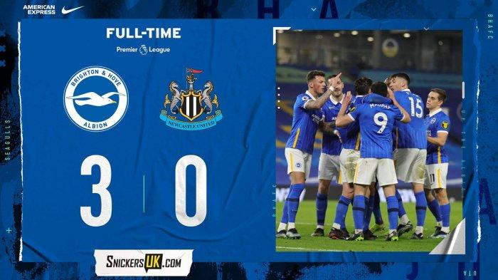 Hasil, Klasemen, Top Skor Liga Inggris Setelah Brighton Menang, Newcastle Kalah, Bamford 14 Gol