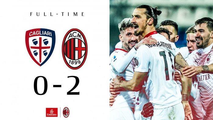 Hasil Liga Italia Cagliari vs AC Milan, Saelemaekers Kartu Merah, Ibrahimovic 2 Gol, AC Milan Menang