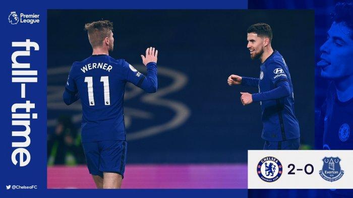 Hasil Chelsea vs Everton- Chelsea menang 2-0 atas Everton di pekan 28 Liga Inggris 2020-2021, Senin (8/3/2021) malam atau Selasa dinihari WIB berkat gol bunuh diri pemain Everton Ben Godfrey dan gol penalti Jorginho. Kedua gol terjadi karena andil Kai Havertz