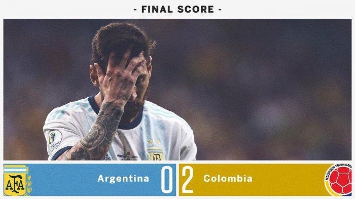 Hasil Copa America 2019 Argentina vs Colombia, Tak Ada Gol Messi Argentina Kalah Kolombia Menang 2-0
