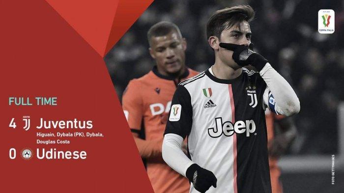 Hasil Coppa Italia Juventus vs Udinese, Ronaldo Absen, Juve Menang Lewat Duet Maut Dybala-Higuain