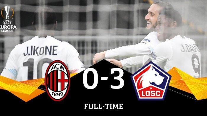 UEL Result - Hasil Liga Eropa AC Milan 0-3 Lille, Kamis (5/11/2020) malam atau Jumat dinihari WIB