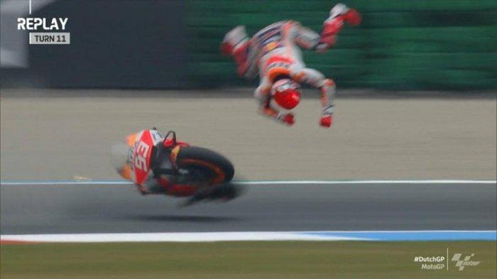 Hasil FP2 MotoGP Belanda 2021, Vinales Tercepat, Marc Marquez Crash Akibat Ban Selip