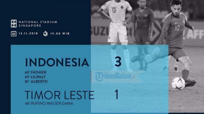 AFF SUZUKI CUP 2018 - Klasemen Grup B Piala AFF Setelah Indonesia Kalahkan Timor Lester 3-1