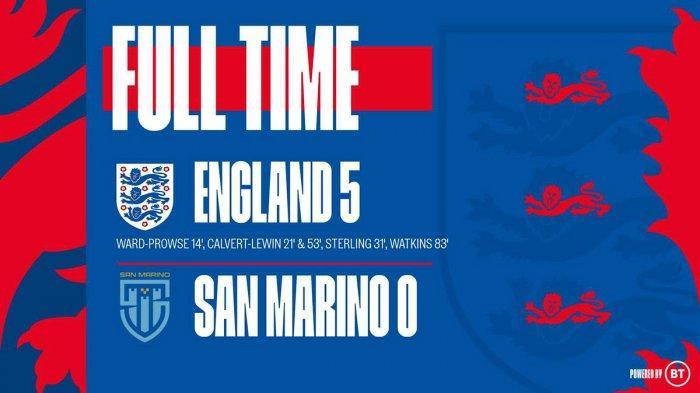 Hasil Inggris vs San Marino - Inggris pesta gol ke gawang San Marino dengan skor 5-0 pada matchday 1 Grup I kualifikasi Piala Dunia Qatar 2022, Kamis (25/3/2021) malam atau Jumat dinihari WIB