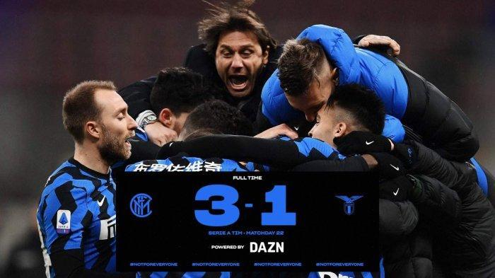 Hasil inter vs Lazio - Inter menang telak 3-1 atas Lazio di pekan 22 Liga Italia 2020-2021, Minggu (14/2/2021)