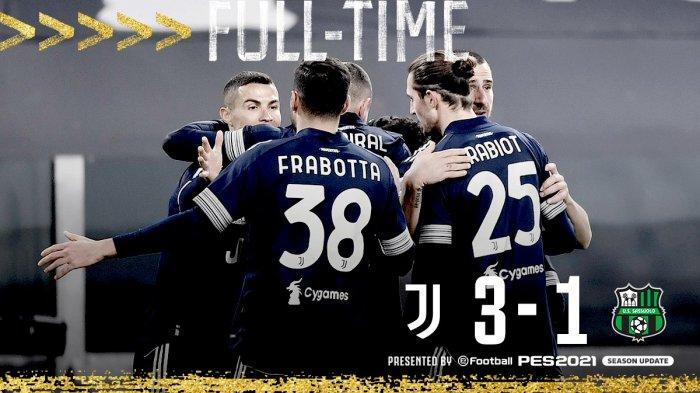 Hasil Liga Italia Juventus vs Sassuolo - Juventus menang 3-1 atas Sassuolo di pekan 17 Liga Italia 2020/2021 di Allianz Stadium, Turin, Minggu (10/1/2021) malam atau Senin dinihari WIB.