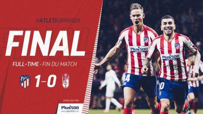 Hasil La Liga Spanyol Atletico Madrid vs Granada, Angel Correa Cetak Gol Cepat, Atletico Menang