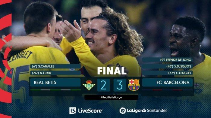 Hasil La Liga Spanyol Real Betis vs Barcelona, Barca Menang dalam Drama 5 Gol, Lionel Messi 3 Assist