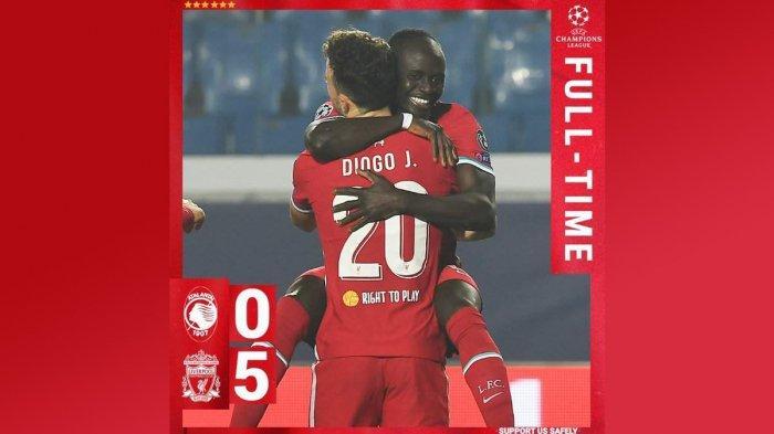 Hasil Liga Champions Atalanta vs Liverpool, Diogo Jota Hattrick, 2 Gol dari Mo Salah & Sadio Mane