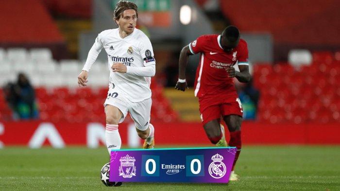 Hasil Liverpool vs Real Madrid - Liverpool hanya berimbang imbang 0-0 saat menjamu Real Madrid di Anfield Stadium pada leg 2 perempat final Liga Champions 2020-2021, Kamis (15/4/2021) dinihari WIB