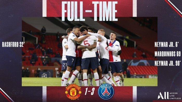 Hasil Liga Champions Manchester United vs PSG, Neymar Cetak 2 Gol, Manchester United Kalah