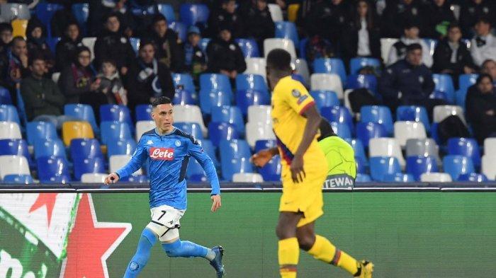 Hasil Liga Champions Napoli vs Barcelona, Diwarnai Kartu Merah, Blaugrana Tahan Imbang Napoli