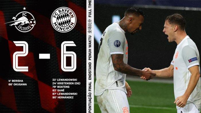 Hasil Liga Champions RB Salzburg vs Bayern Munchen, Pesta Gol Lagi, Cetak 4 Gol dalam 14 Menit