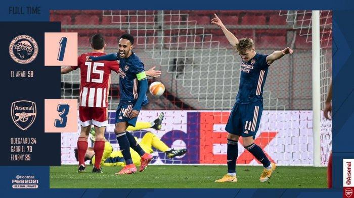 Arsenal menang telak 3-1 atas Olympiacos di leg 1 babak 16 besar Liga Europa 2020-2021, Kamis (11/3/2021) malam atau Jumat dinihari WIB