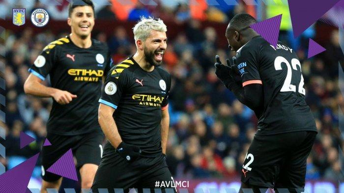 Hasil Liga Inggris - Aguero Hattrick, Manchester City Pesta Gol ke Gawang Aston Villa