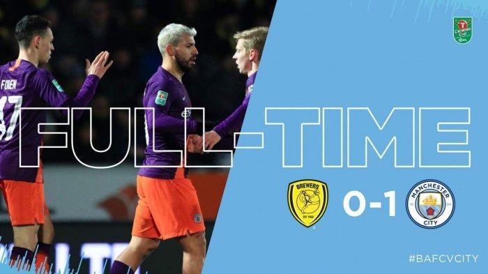 Hasil Piala Liga Inggris Burton vs Man City - City Menang Lewat Gol Tunggal Aguero. Agregat 10-0