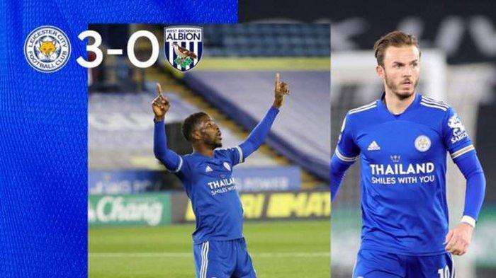 Hasil Leicester City vs West Brom, Jamie Vardy, Jonny Evans, Iheanacho Cetak Gol, Leicester Menang
