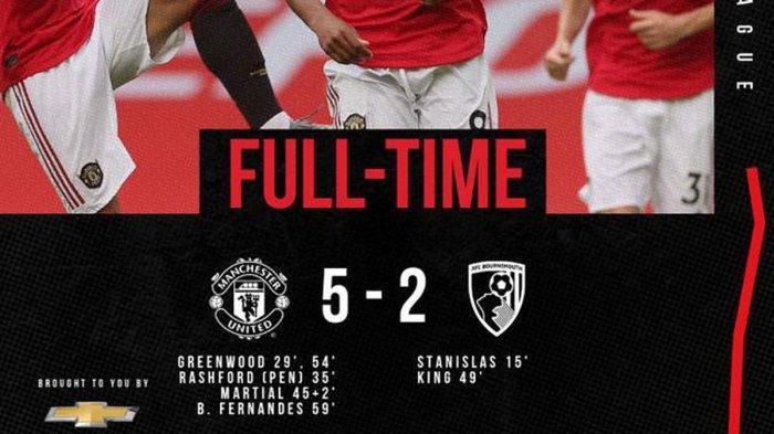 Hasil Liga Inggris Man United vs Bournemouth, Drama 7 Gol di Old Trafford, MU Menang Greenwood 2 Gol