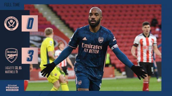 Hasil Sheffield United vs Arsenal, Alexandre Lacazette Cetak 2 Gol, Arsenal Menang