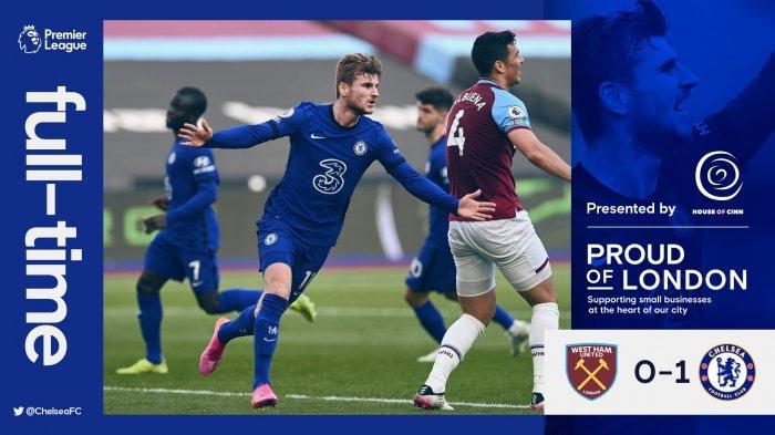 Hasil West Ham vs Chelsea, Timo Werner Cetak Gol, Fabian Balbuena Kartu Merah, Chelsea Menang