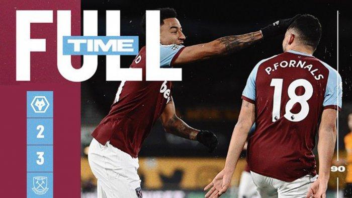 Hasil Wolves vs West Ham United - West Ham United menang 3-2 atas Wolverhampton Wanderers (Wolves) pada pekan 30 Liga Inggris 2020-2021, Senin (5/4/2021) malam atau Selasa dinihari WIB.