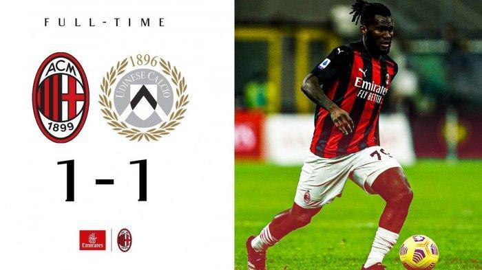 Hasil Liga Italia AC Milan vs Udinese - AC milan ditahan imbang Udinese dengan skor 1-1 di San Siro Milan, pada pekan 25 Liga Italia 2020-2021, Rabu (3/3/2021) malam atau Kamis dinihari WIB