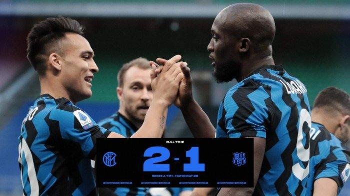 Hasil Inter Milan vs Sassuolo - Inter Milan menang 2-1 atas Sassuolo di laga tunda pekan 28 Liga Italia 2020-2021, Rabu (7/4/2021) malam atau Kamis dinihari WIB