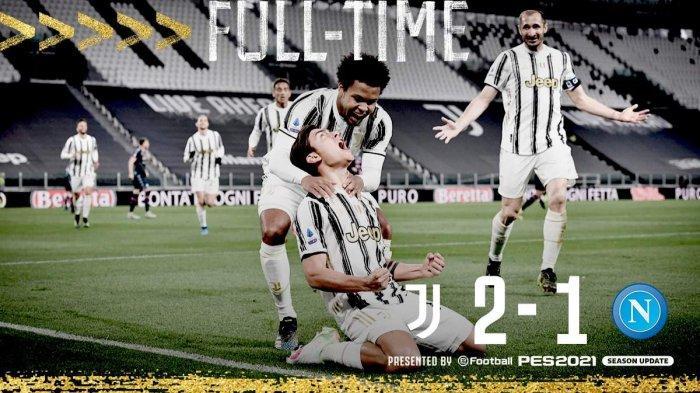 Hasil Juventus vs Napoli - Juventus menang 2-1 atas Napoli pada laga tunda pekan 3 Liga Italia 2020-2021, Rabu (7/4/2021) malam atau Kamis dinihari WIB