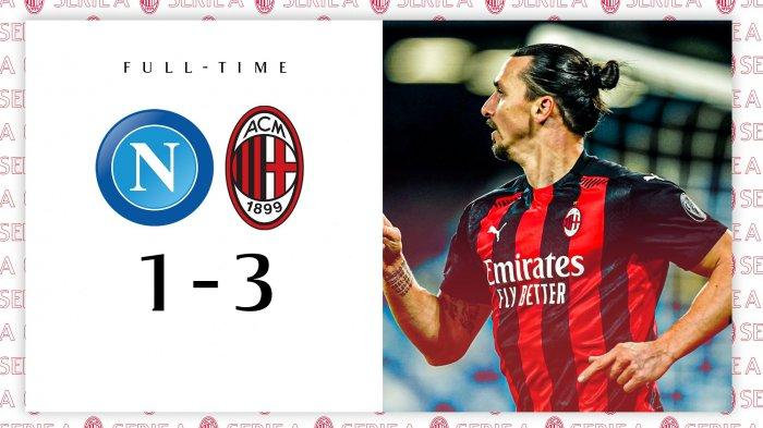 Hasil Liga Italia Napoli vs AC Milan, Zlatan Ibrahimovic Cetak 2 Gol, Jens Hauge 1 Gol, Milan Menang