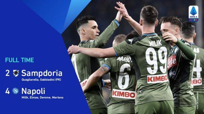 Hasil Liga Italia Sampdoria vs Napoli, Pasukan Gattuso Menang Lagi, Kali Ini Bungkam Sampdoria