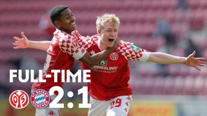 Hasil Mainz vs Bayern Munchen - Mainz menang 2-1 atas Bayern Munchen pada pekan 31 Liga Jerman 2020-2021 yang berlangsung Sabtu (24/4/2021)