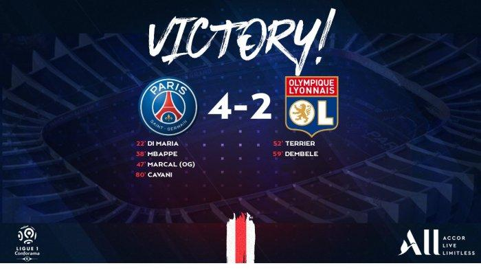 Hasil Liga Perancis PSG vs Lyon, Neymar Tidak Main, Edinson Cavani Cetak 1 Gol, PSG Menang 4-2