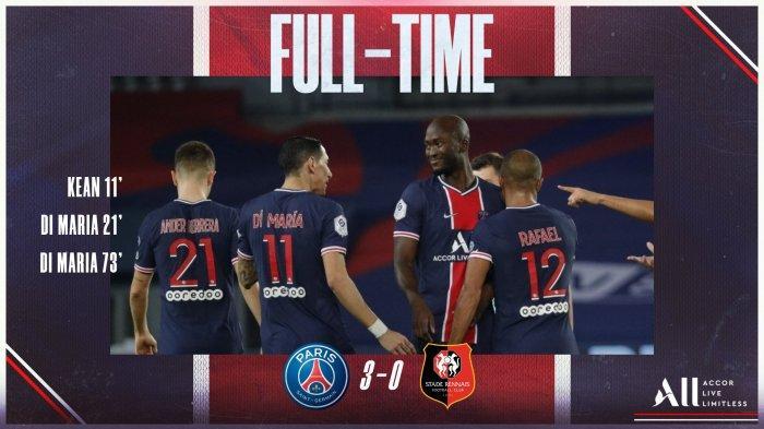 Hasil Liga Prancis PSG vs Rennes, Angel Di Maria Sumbang 2 Gol, Moise Kean 1 Gol, PSG Menang