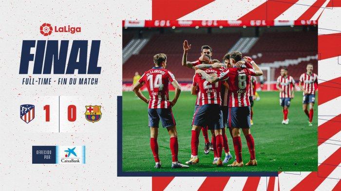 Hasil Liga Spanyol Ateltico Madrid vs Barcelona pekan 10 Liga Spanyol 2020/2021 dimenangkan Atletico Madrid dengan skor 1-0