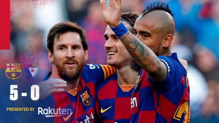 Hasil Liga Spanyol Barcelona vs Eibar, Barcelona Pesta Gol di Nou Camp, Lionel Messi Cetak 4 Gol