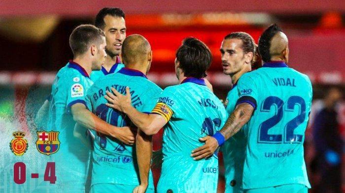 Hasil Liga Spanyol Mallorca vs Barcelona, El Barca Pesta Gol di Mallorca, Lionel Messi Sumbang 1 Gol
