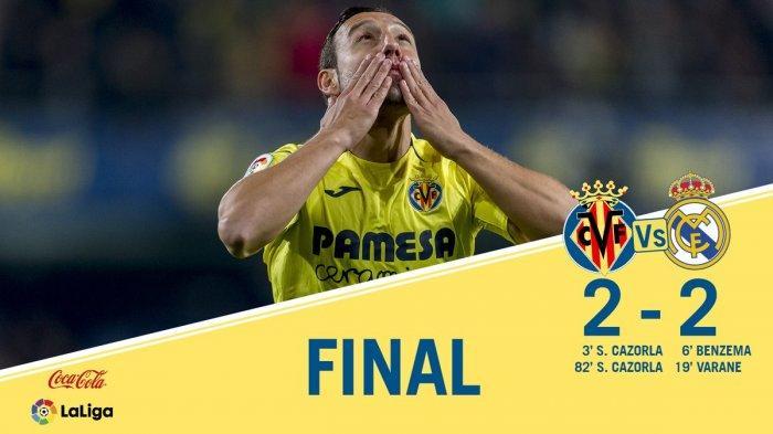 Hasil Liga Spanyol Villarreal vs Real Madrid - Villarreal Tahan Imbang Madrid, Cazorla Cetak Dua Gol