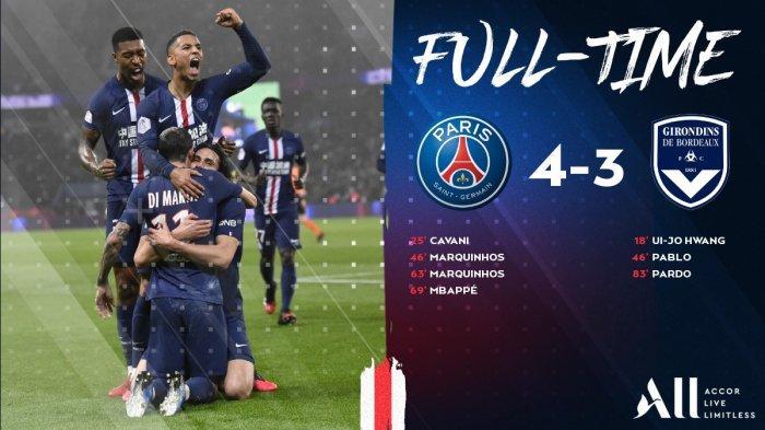 Hasil Liga Prancis PSG vs Bordeaux, Drama 7 Gol di Parc des Princes, PSG Menang, Marquinhos 2 Gol