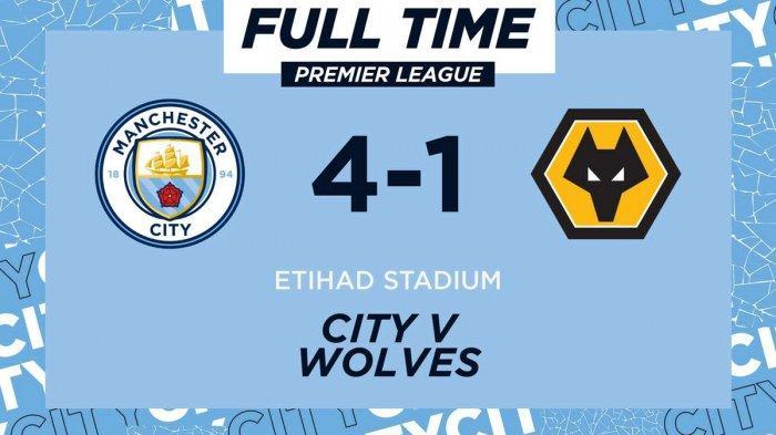 Hasil Liga Inggris Manchester City vs Wolves, Gabriel Jesus Cetak 2 Gol, Manchester City Menang