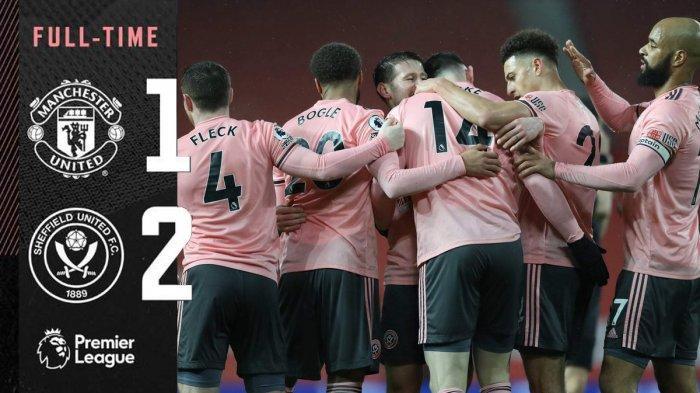 Hasil Liga Inggris Manchester United vs Sheffield United - Sheffield United menang 2-1 atas Manchester United di pekan 20 Liga Inggris 2020-2021, Rabu 927/1/2021) malam atau Kamis dinihari WIB.