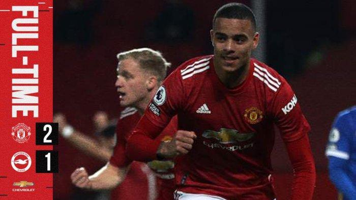 Hasil Manchester United vs Brighton & Hove Albion - Manchester United menang 2-1 atas Brighton pada pekan 30 Liga Inggris, Minggu (4/4/2021)
