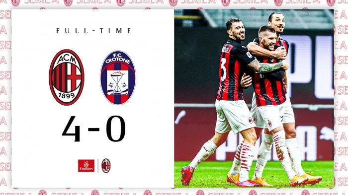 Hasil Liga Italia AC Milan vs Crotone - AC Milan menang telak 4-0 atas Crotone di pekan 21 Liga Italia 2020/2021, Minggu (7/2/2021) malam WIB.