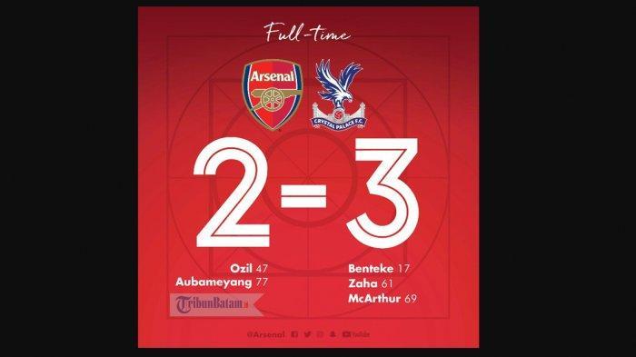 Hasil Liga Inggris Arsenal vs Crystal Palace, Shkodran Mustafi Blunder, Arsenal Kalah